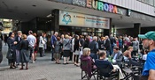 In front of the Europa cinema