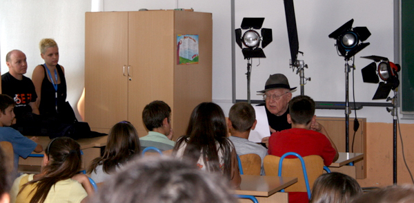 Branko Lustig giving a lecture in Mečenčani in 2011