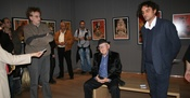 Slobodan Blagojević, Branko Lustig and Tarik Samarah at the opening of the exhibition